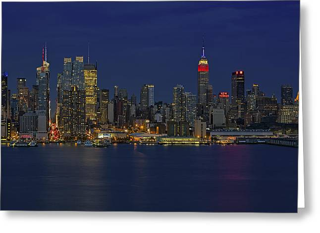 Midtown Greeting Cards - New York City Lights Greeting Card by Susan Candelario