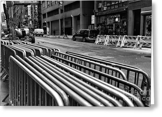 City That Never Sleeps Greeting Cards - New York City Lines mono Greeting Card by John Rizzuto