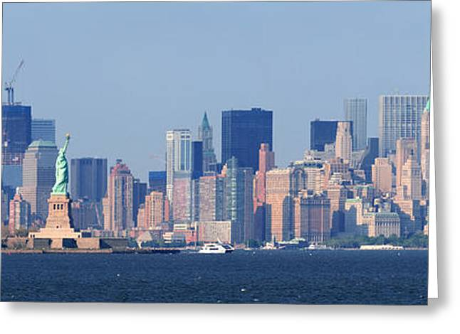 Historic Statue Greeting Cards - New York City lower Manhattan skyline Greeting Card by Songquan Deng