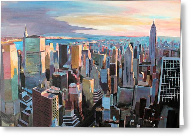Midtown Paintings Greeting Cards - New York City - Manhattan Skyline in Warm Sunlight Greeting Card by M Bleichner