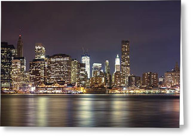 Glass Wall Greeting Cards - New York City - Manhattan Waterfront at night Greeting Card by Thomas Richter