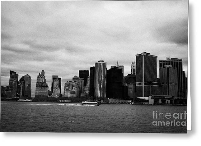 New York City Manhatten Winter Shoreline Greeting Card by Joe Fox