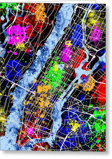 New Year Greeting Cards - New York City Map Greeting Card by Stephen Younts