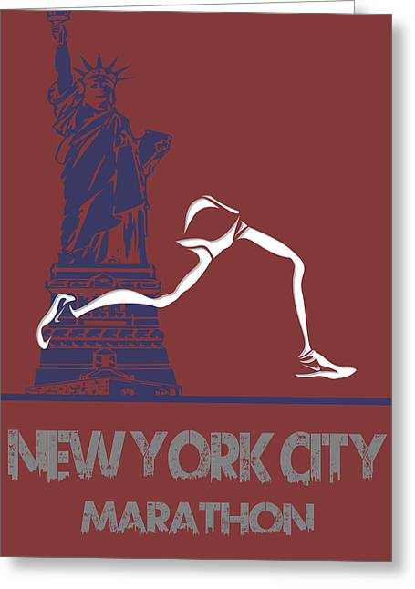 Runner Greeting Cards - New York City Marathon Greeting Card by Joe Hamilton
