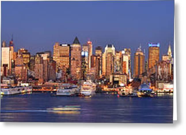 New York City Greeting Cards - New York City Midtown Manhattan at Dusk Greeting Card by Jon Holiday