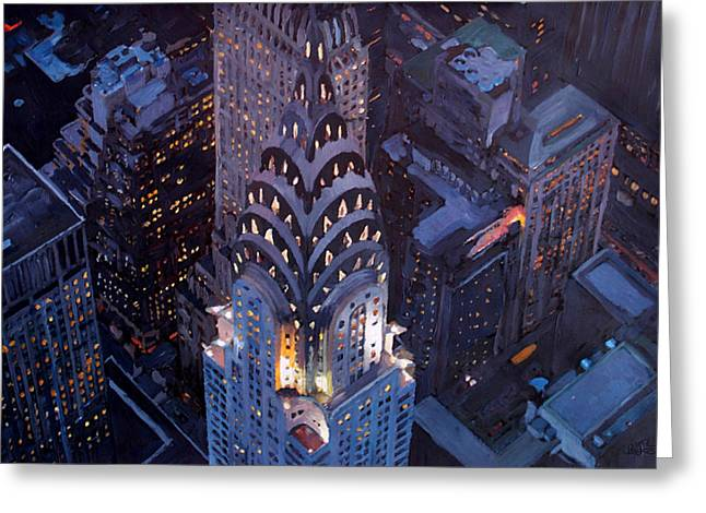 Nyc Posters Paintings Greeting Cards - New York City Midtown Manhattan With Chrysler Building At Night  Version 2 Greeting Card by M Bleichner
