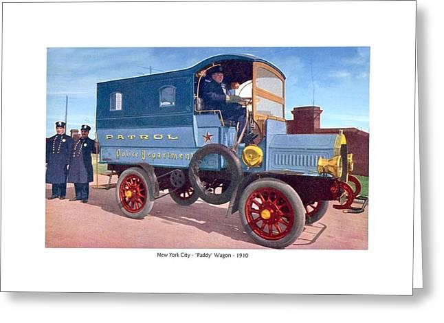 New York City - New York Police Department Patrol Paddy Wagon - 1910 Greeting Card by John Madison