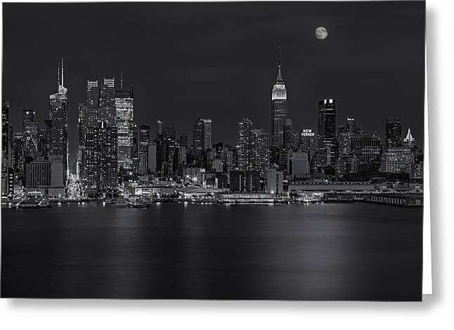 Full Moon Greeting Cards - New York City Night Lights Greeting Card by Susan Candelario