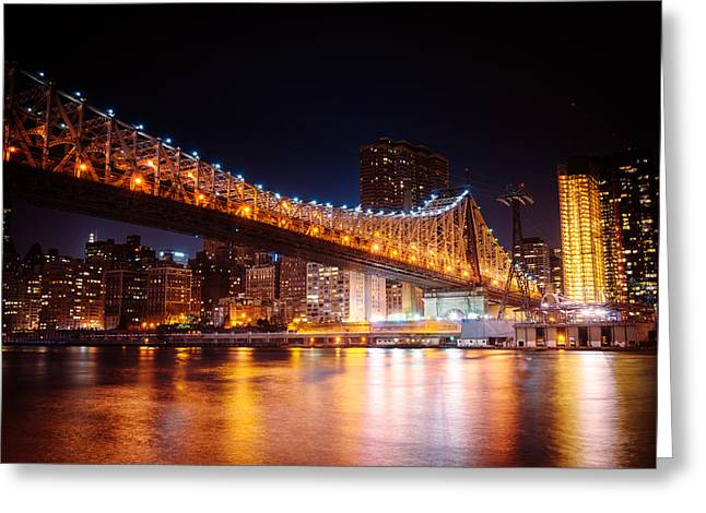 Nyc Architecture Greeting Cards - New York City - Night Lights Greeting Card by Vivienne Gucwa
