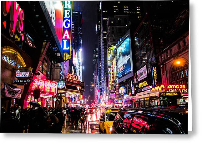 Times Square Greeting Cards - New York City Night Greeting Card by Nicklas Gustafsson