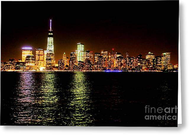Lower Manhattan Greeting Cards - New York City Night Greeting Card by Olivier Le Queinec