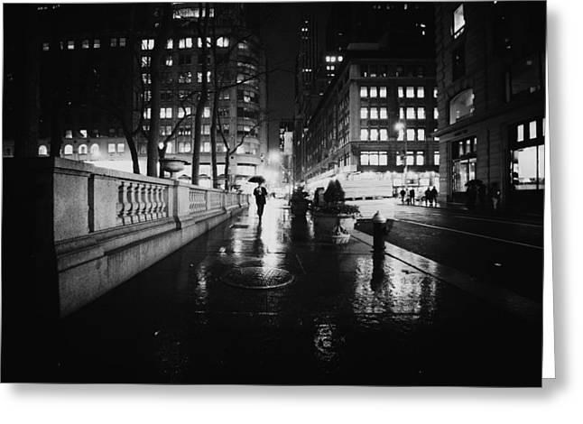 New York City - Night Rain Greeting Card by Vivienne Gucwa