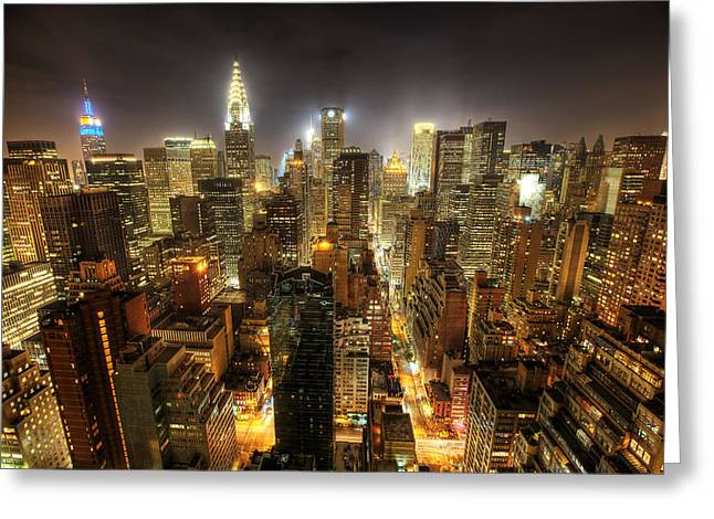 Skyline Photos Greeting Cards - New York City Night Greeting Card by Shawn Everhart
