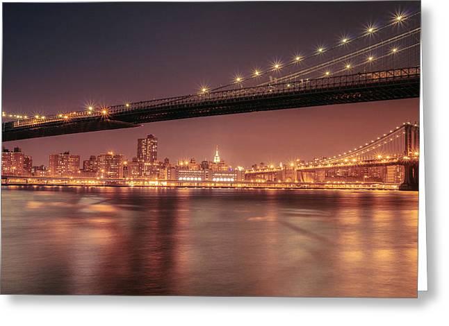 Manhattan Night Greeting Cards - New York City Night - Two Bridges Greeting Card by Vivienne Gucwa