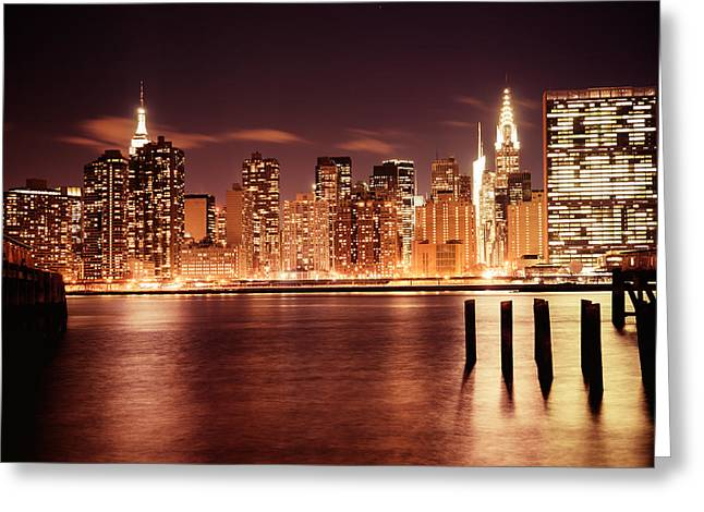 City Lights Greeting Cards - New York City - Night Greeting Card by Vivienne Gucwa