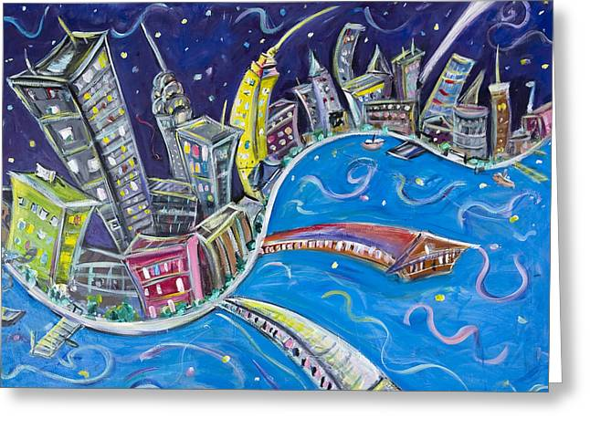 City Buildings Paintings Greeting Cards - New York CIty Nights Greeting Card by Jason Gluskin
