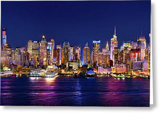 Panoramic Greeting Cards - New York City NYC Midtown Manhattan at Night Greeting Card by Jon Holiday