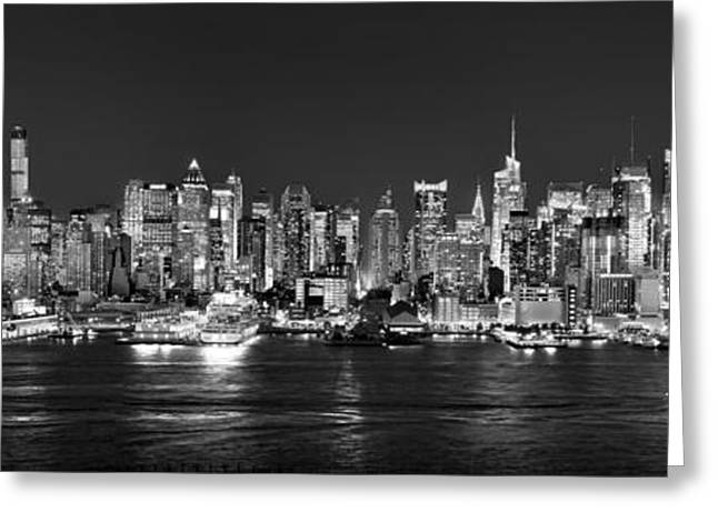 Panoramic Photographs Greeting Cards - New York City NYC Skyline Midtown Manhattan at Night Black and White Greeting Card by Jon Holiday