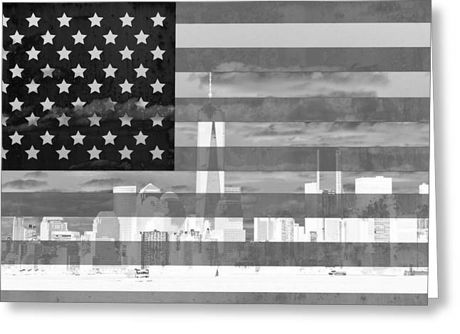 Center City Mixed Media Greeting Cards - New York City On American Flag Black And White Greeting Card by Dan Sproul