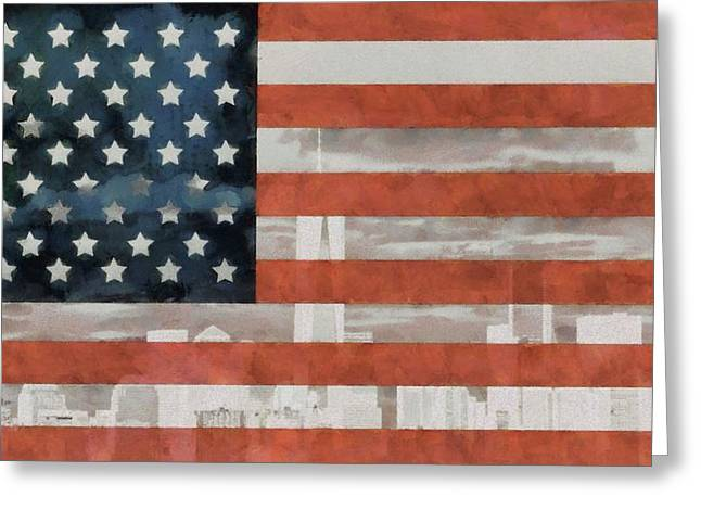New York City On American Flag Greeting Card by Dan Sproul