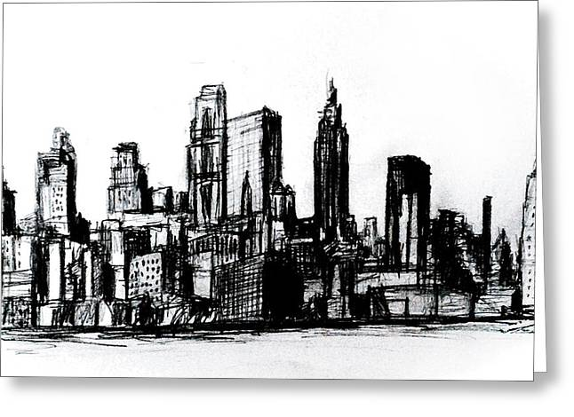 Midtown Drawings Greeting Cards - New York CIty Greeting Card by Paul Sutcliffe