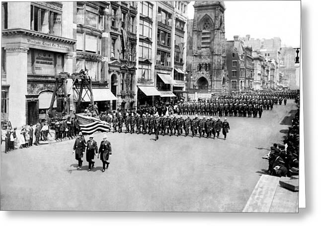 New York City Police In Parade Greeting Card by Underwood Archives