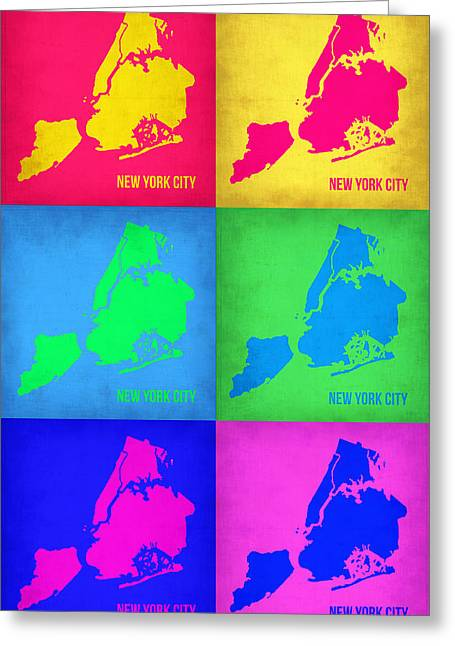 Nyc Posters Greeting Cards - New York City Pop Art  Map 5 Greeting Card by Naxart Studio