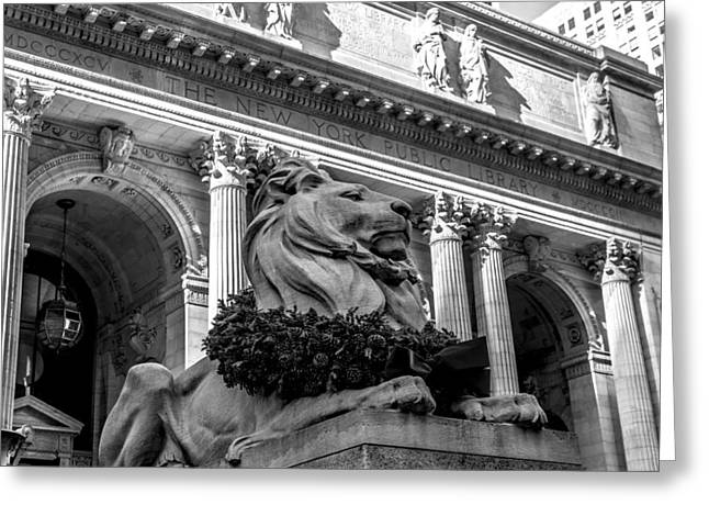 Front Steps Greeting Cards - New York City Public Library Black and White Greeting Card by David Morefield