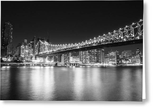 Manhattan Night Greeting Cards - New York City - Queensboro Bridge at Night Greeting Card by Vivienne Gucwa