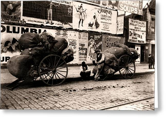 Hand Drawn Greeting Cards - New York City Rag Carts 1896 Greeting Card by Unknown