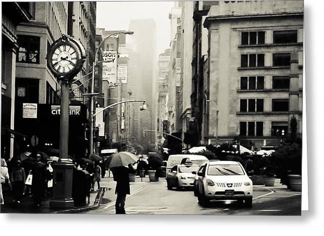 New York City - Rain - 5th Avenue Greeting Card by Vivienne Gucwa