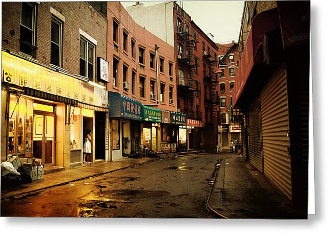 New York City Rain Greeting Cards - New York City - Rainy Afternoon - Doyers Street Greeting Card by Vivienne Gucwa