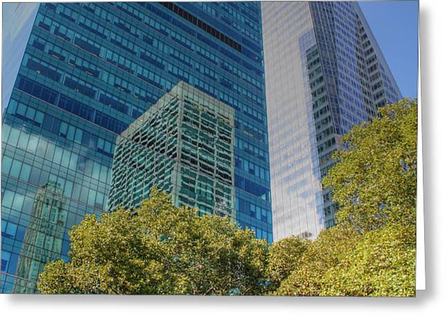 New York City Reflections Greeting Card by Bob Hislop