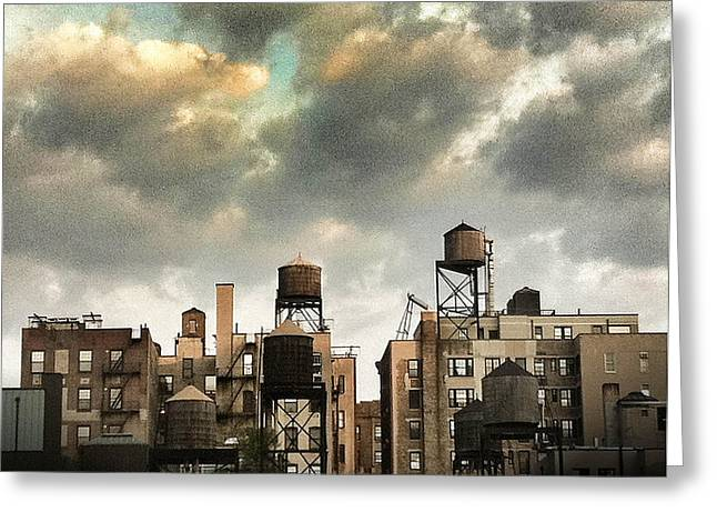 Apartment Greeting Cards - New York City Rooftops Greeting Card by Amy Cicconi