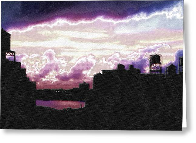 Interior Scene Mixed Media Greeting Cards - New York City Rooftops Greeting Card by Tony Rubino
