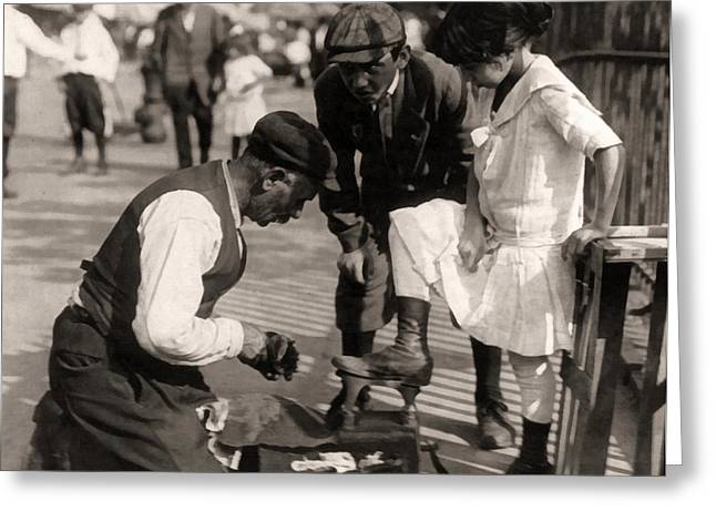 1916 Digital Greeting Cards - New York City Shoeshine 1916 Greeting Card by Unknown