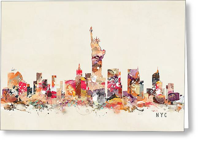Nyc Posters Paintings Greeting Cards - New York City Sklyline Greeting Card by Bri Buckley