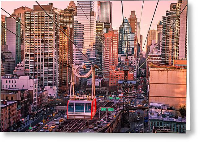 Midtown Greeting Cards - New York City - Skycrapers and the Roosevelt Island Tram Greeting Card by Vivienne Gucwa