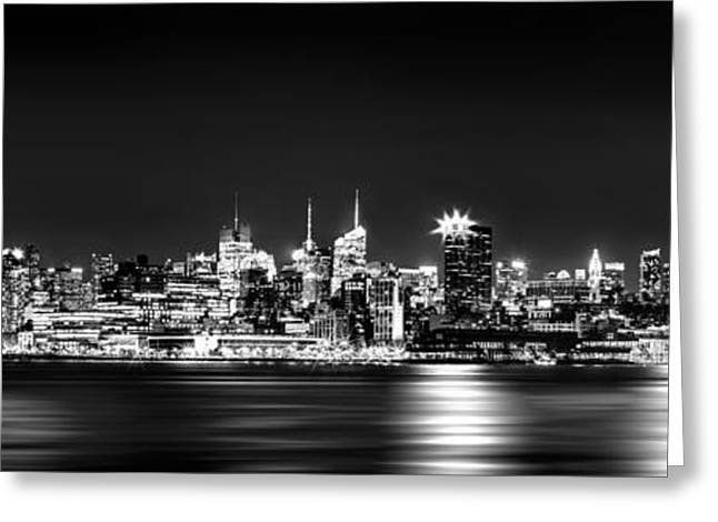City Of New York Greeting Cards - New York City Skyline - BW Greeting Card by Az Jackson