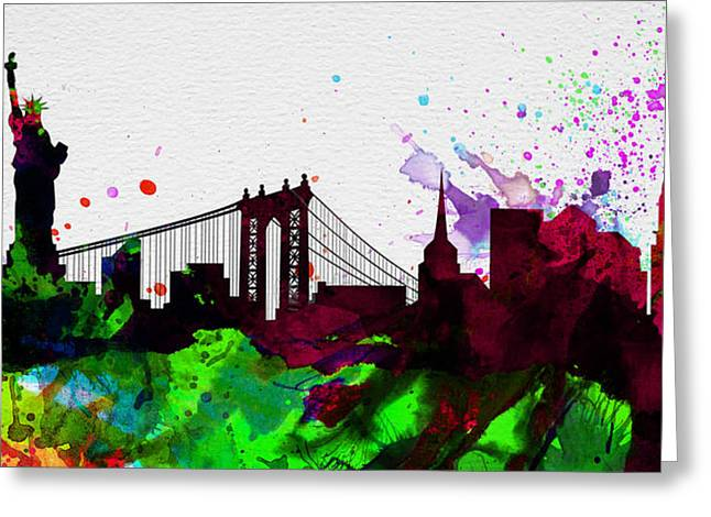 New York City Landscape Greeting Cards - New York City Skyline 2 Greeting Card by Naxart Studio