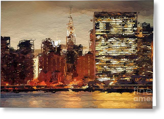 New York City Skyline Abstract 2 Greeting Card by Anthony Fishburne