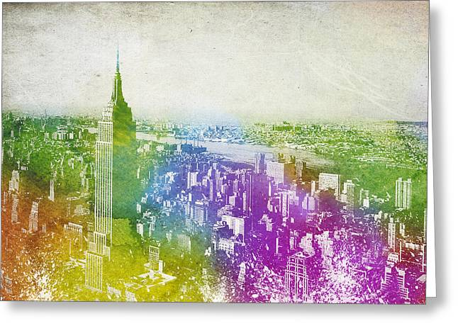 Brooklyn Bridge Mixed Media Greeting Cards - New York City Skyline Greeting Card by Aged Pixel