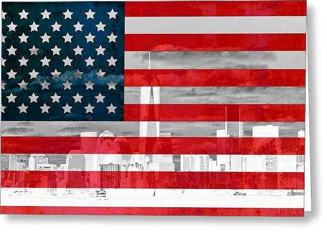 Flag Of Usa Greeting Cards - New York City Skyline And American Flag Greeting Card by Dan Sproul