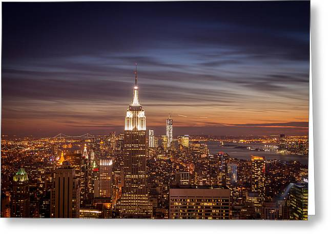 Midtown Greeting Cards - New York City Skyline and Empire State Building at Dusk Greeting Card by Vivienne Gucwa