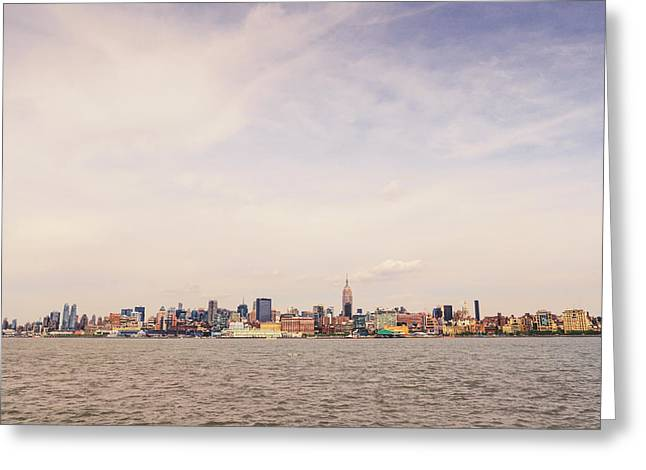 Midtown Greeting Cards - New York City Skyline and the Hudson River Greeting Card by Vivienne Gucwa