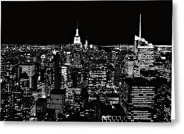 New York Vista Greeting Cards - New York City Skyline At Night Greeting Card by Dan Sproul