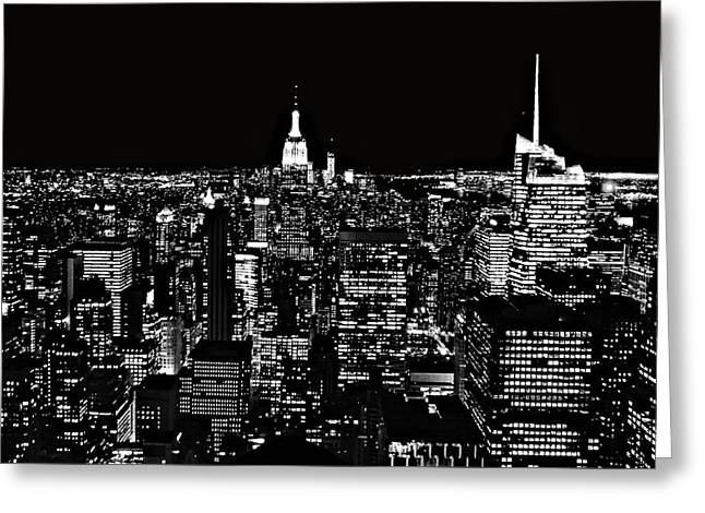 New York City Skyline At Night Greeting Card by Dan Sproul