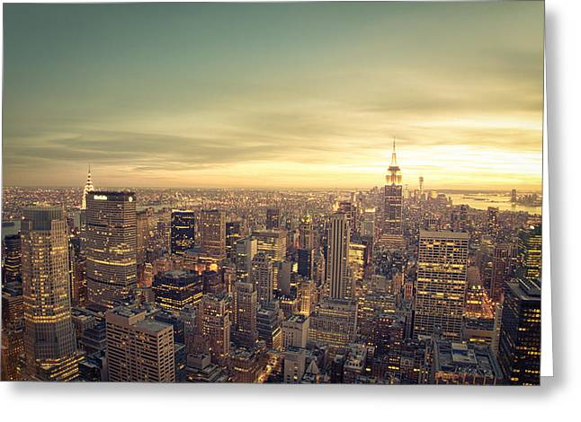 Nyc Rooftop Greeting Cards - New York City - Skyline at Sunset Greeting Card by Vivienne Gucwa