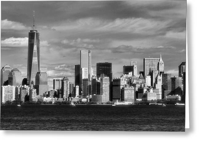 One Sailboat Greeting Cards - New York City Skyline Black And White Greeting Card by Dan Sproul