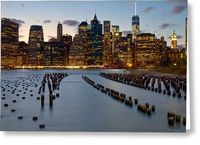 Brooklyn Promenade Greeting Cards - New York City skyline from Brooklyn Greeting Card by Jetson Nguyen